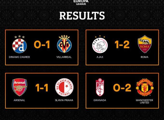AS Roma, Villarreal și Manchester United, cu un pas în semifinale / Slavia Praga, remiză pe terenul lui Arsenal